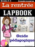 Lapbook - La rentrée scolaire - Guide pédagogique (FREE PREVIEW)