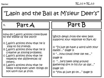 Lapin and the Ball at M'sieur Deer's Text and EBSR Comprehension Questions