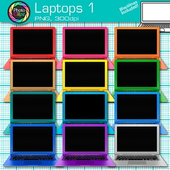 Laptop Clip Art {Rainbow Computers for Classroom Technolog
