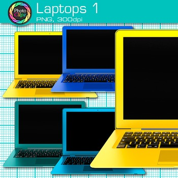 Laptop Clip Art {Rainbow Computers for Classroom Technology & Lab Use} 1
