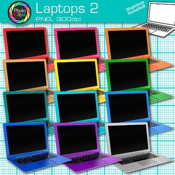 Laptop Clip Art {Rainbow Computers for Classroom Technolog