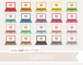 Laptop Clipart; Computer, Screen, Heart