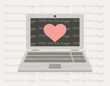 Laptop Clipart; Computer, Screen, Heart