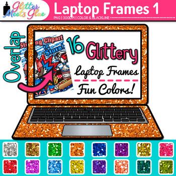 Laptop Frame Clip Art {Rainbow Computer Borders for Techno