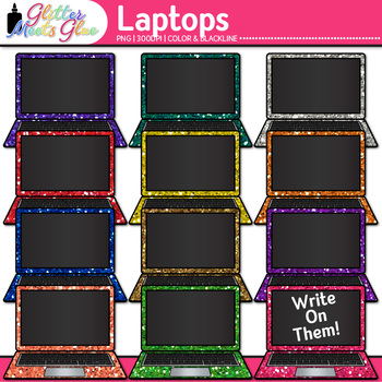 Laptop Clip Art {Rainbow Glitter Computers for Classroom Technology Use}