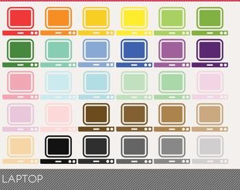 Laptop Digital Clipart, Laptop Graphics, Laptop PNG, Rainbow Laptop