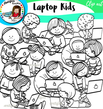 Laptop Kids Clip Art Set