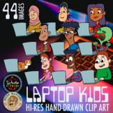 Laptop Kids, Tweens, Middle Schoolers Clip Art