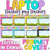 Laptop Tpt Product Cover Template | Editable, Rainbow Edition