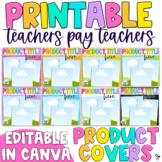 Printable Tpt Product Cover Template | Editable, Rainbow Edition
