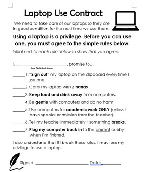 Laptop Use Contract & Sign-Out Sheet