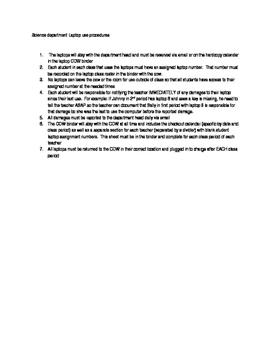 Laptop procedures, classroom management of technology