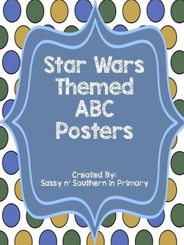 Large ABC Posters - Star Wars Theme (Blue Polka Dot)