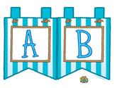 "Aqua Large Alphabet Banner Flags (2 on 8.5"" x 11"")"