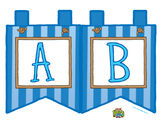 """Blue Large Alphabet Banner Flags (2 on 8.5"""" x 11"""")"""