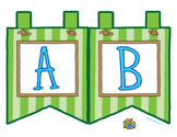"""Green Large Alphabet Banner Flags (2 on 8.5"""" x 11"""")"""