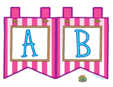 """Pink Large Alphabet Banner Flags (2 on 8.5"""" x 11"""")"""
