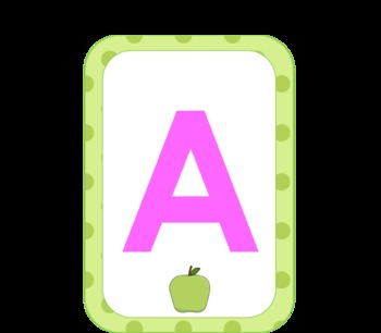 Large  Alphabet Cards with Polka Dot Border