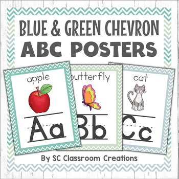 Chevron Alphabet Posters (Blue and Green)-Classroom Decor