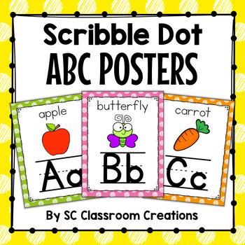 Polka Dot Alphabet Posters (Scribble Polka Dot)