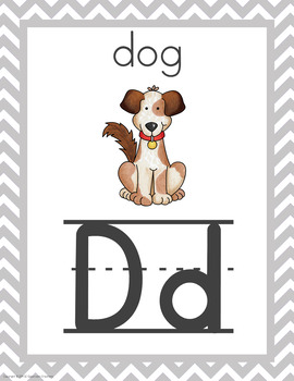 Chevron Alphabet Posters (Yellow and Gray)-Classroom Decor