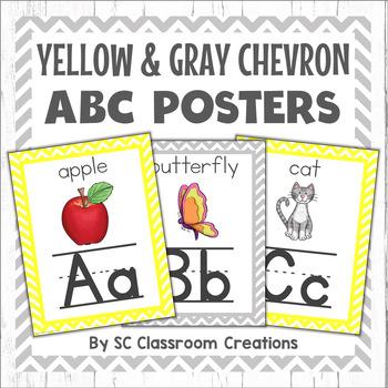 Chevron Alphabet Posters (Yellow and Gray Chevron)