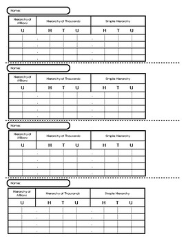 Large Bead Frame Worksheet (Individual)