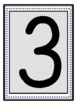 Large Black Numbers with a light gray background with a dark purple dot frame