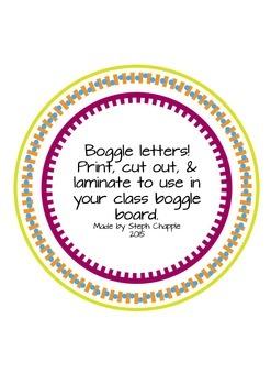 Large Boggle Letters