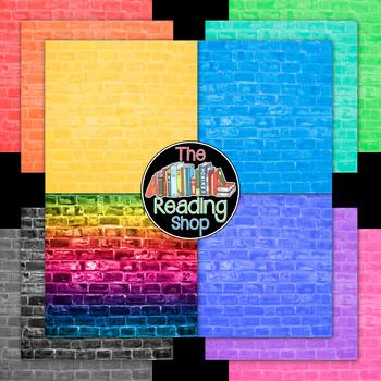 Large Bricks Digital Paper Backgrounds