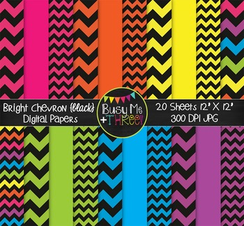 Large Bright Chevron {BLACK} Digital Papers {Commercial Use Digital Graphics}
