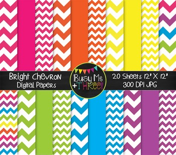 Large Bright Chevron Digital Papers {Commercial Use Digital Graphics}