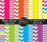 Large Bright Chevron Digital Papers {Commercial Use Digita