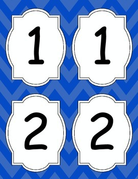 Large Bright Chevron Table Numbers *BLUE*