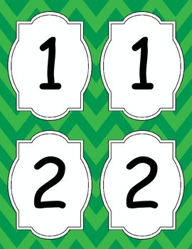 Large Bright Chevron Table Numbers *GREEN*