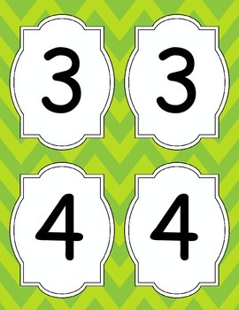 Large Bright Chevron Table Numbers *LIME GREEN*