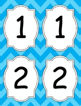 Large Bright Chevron Table Numbers *Light Blue*
