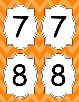 Large Bright Chevron Table Numbers *ORANGE*