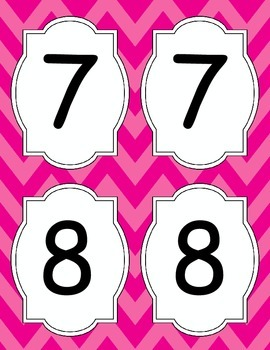 Large Bright Chevron Table Numbers *PINK*