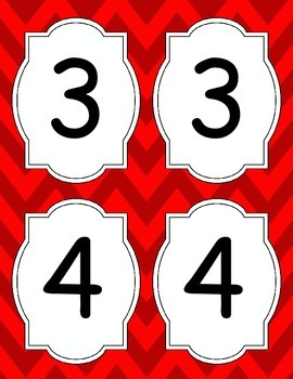 Large Bright Chevron Table Numbers *RED*