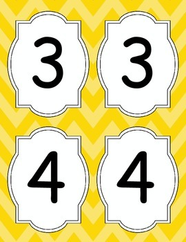 Large Bright Chevron Table Numbers *YELLOW*