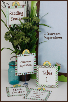 Large Center Labels or Signs – Editable – Turtle Time Classroom Theme