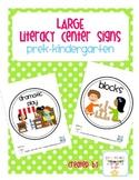 Large Center Signs: grades prek-kindergarten