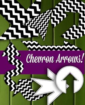 "Large Chevron Arrow • 40 Shapes • 8 – 10"" Wide Clip Art Di"