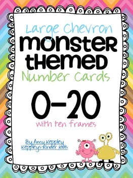 Large Chevron Monster Themed Number Cards