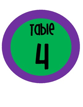 Large Circle Table Numbers