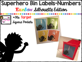 Large Classroom Number Labels-Superhero Rainbow Silhouette Edition