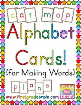 Large Colorful Alphabet Cards for Making Words (Freebie!)