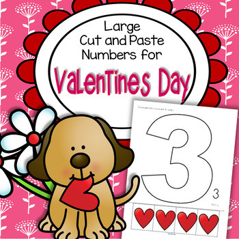 Valentine's Day Large Numbers Cut and Paste 1-12