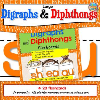 Large DIGRAPHS AND DIPHTHONGS Flash Cards with Handwriting Lines